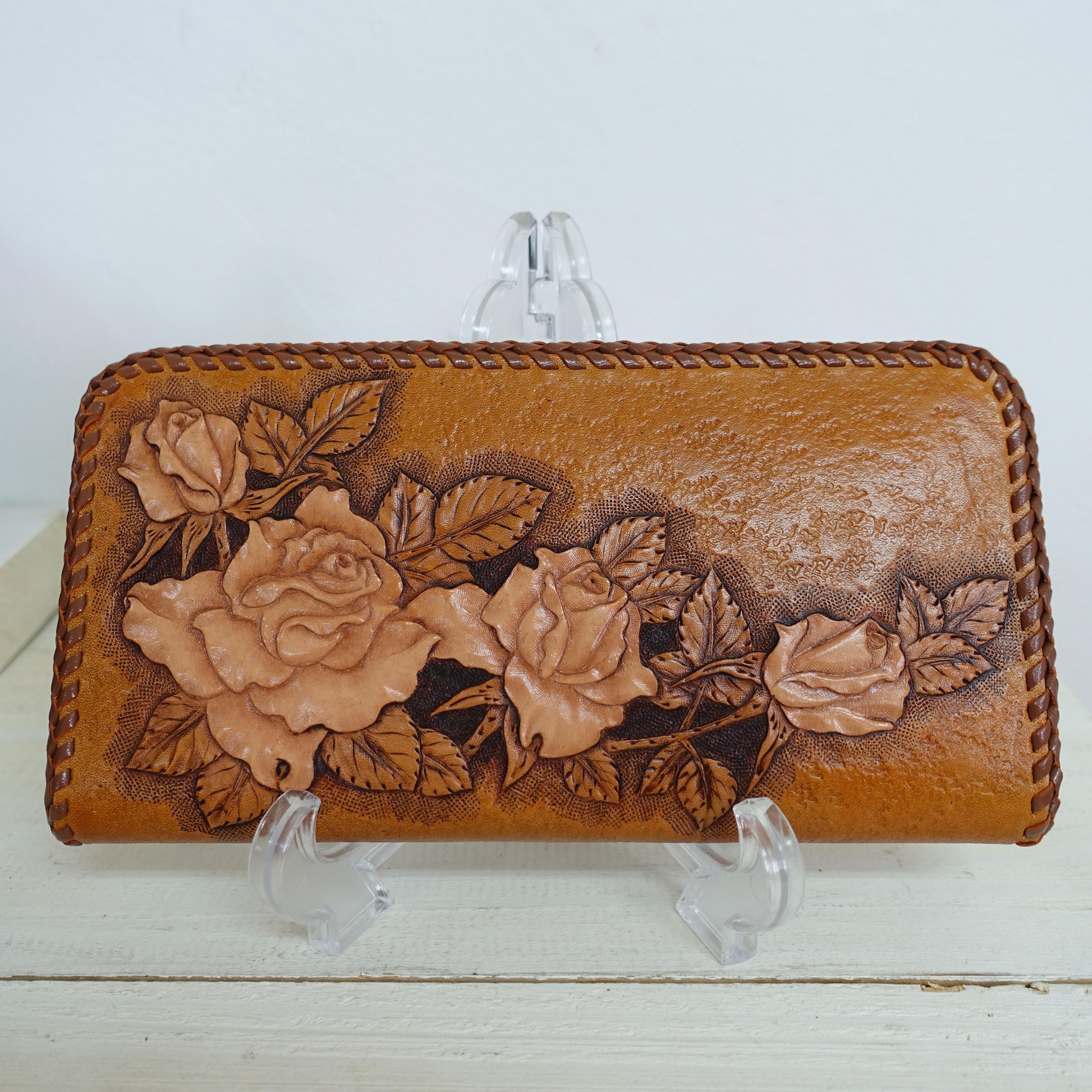 レザーカービングのバラの長財布(送料無料)