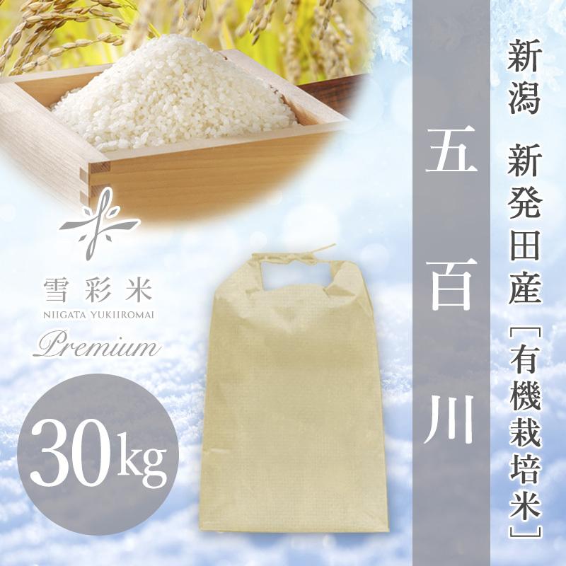 【雪彩米Premium】新発田産 有機栽培米 令和2年産 五百川 30kg