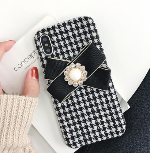 【お取り寄せ商品、送料無料】千鳥格子チェックのケースにリボン付iPhoneケース