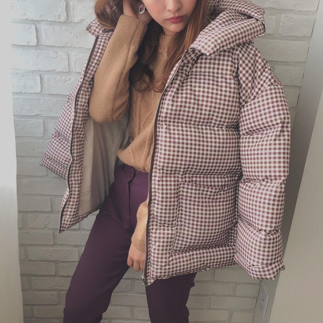♡check oversize coat brown