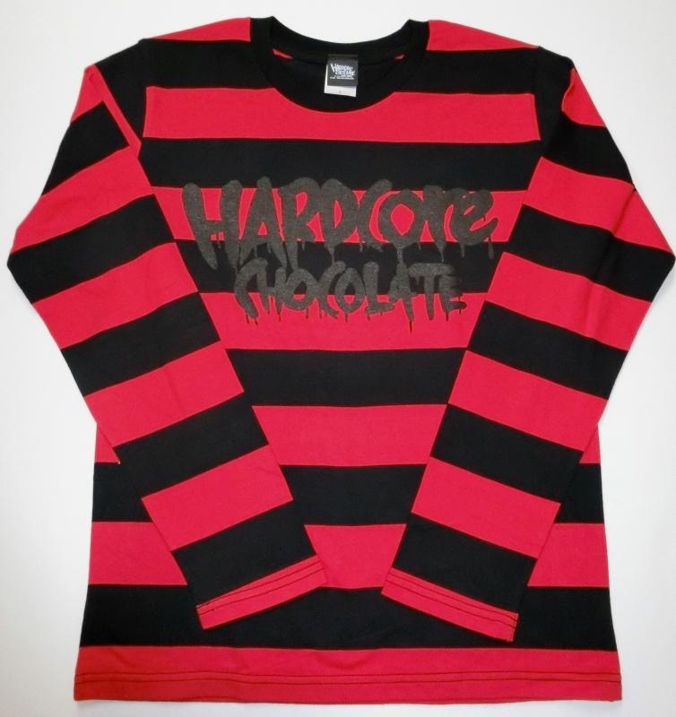 フルメルロゴ ボーダー長袖Tシャツ(監獄ブラック×レッド) / ハードコアチョコレート