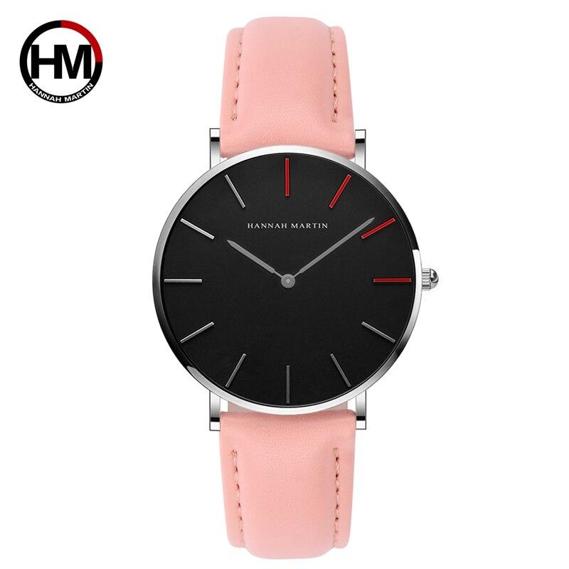 日本クォーツムーブメント レディース腕時計 高級黒革の女性 36mm1230-HR36-YF