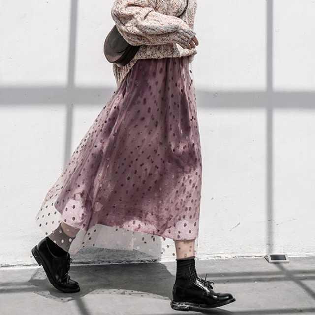 【送料無料】コーデのアクセントに♡ ドット柄 ロング丈 ベルベット チュールスカート