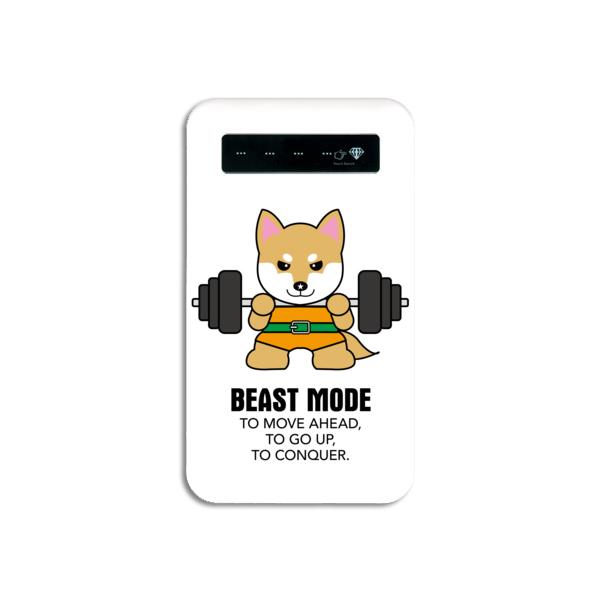 【BEASTMODE】携帯充電器 バーベル柴犬