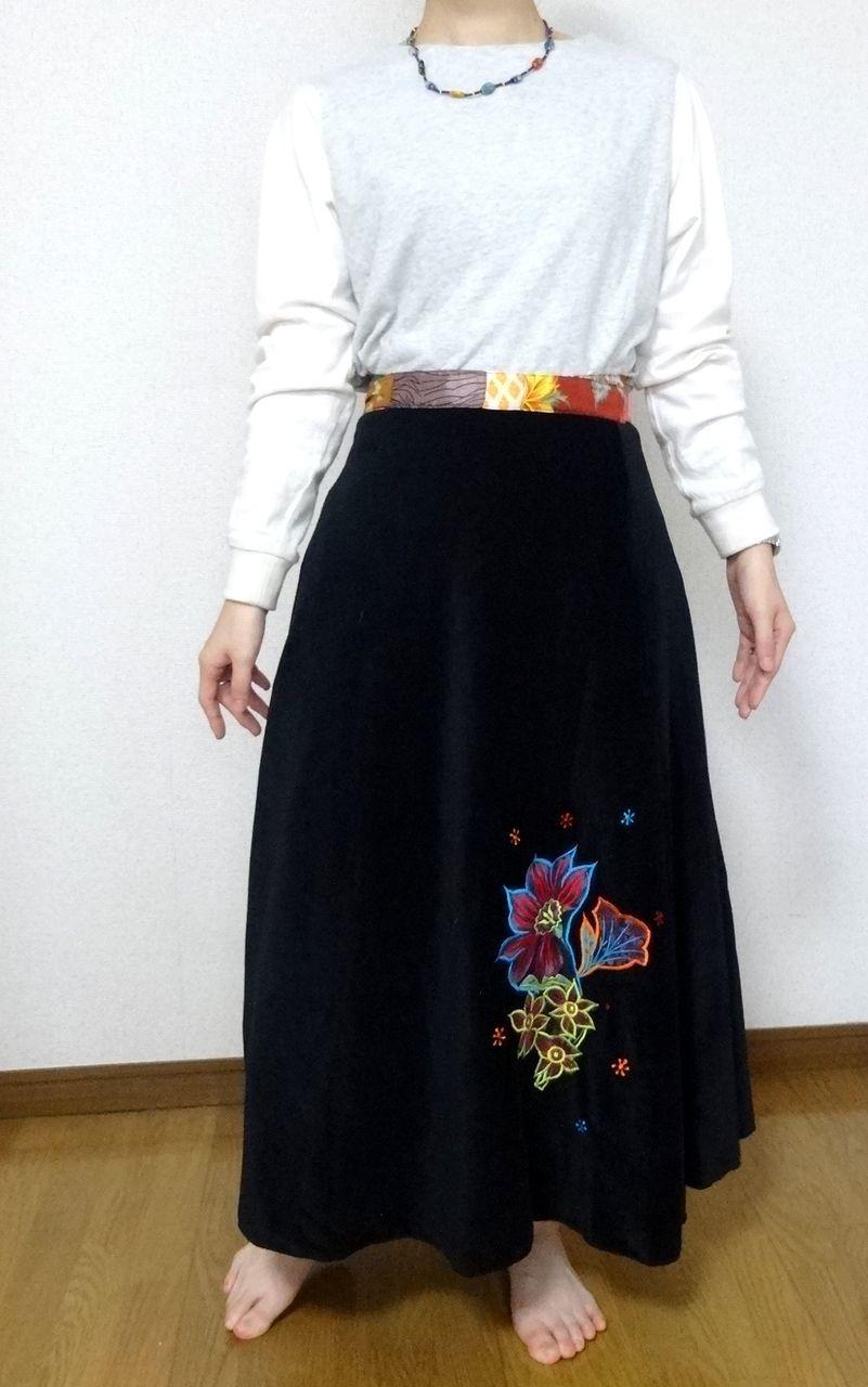 EMS-007BL ベルベット刺繍×シルク巻きスカート 黒