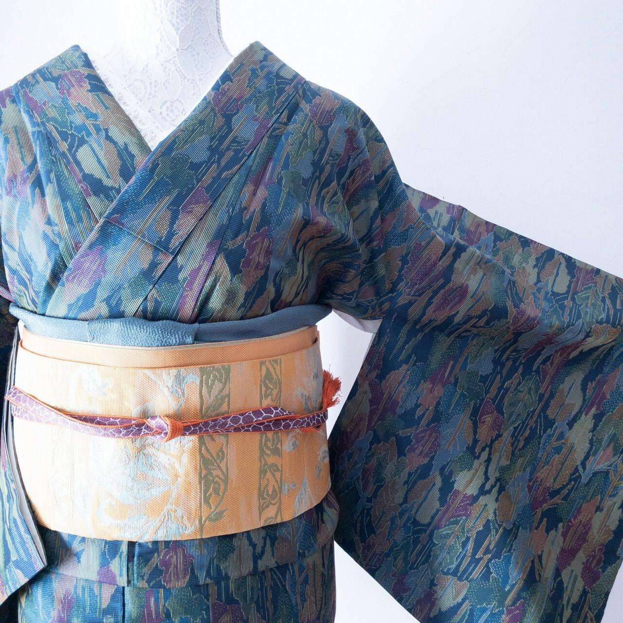 【超ロング丈で裄長】紬 シャイニー感のいろとりどりの木立ち織出し