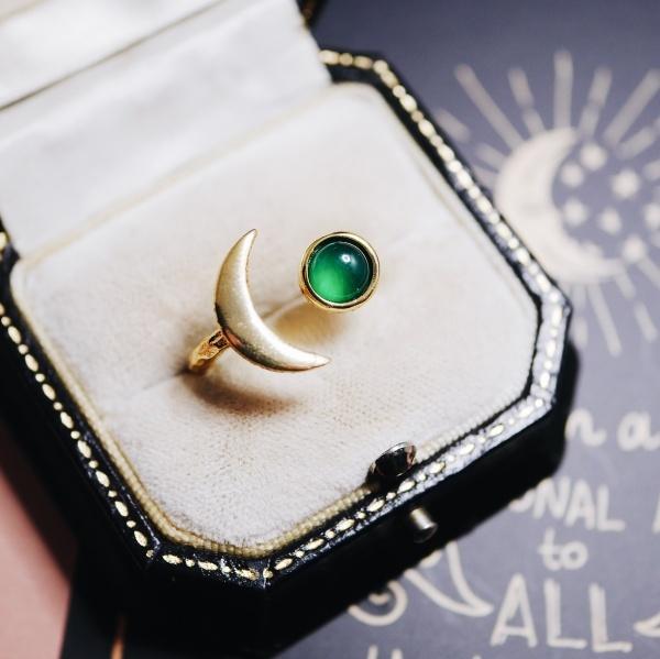 グリーンオニキス 月と星の指輪