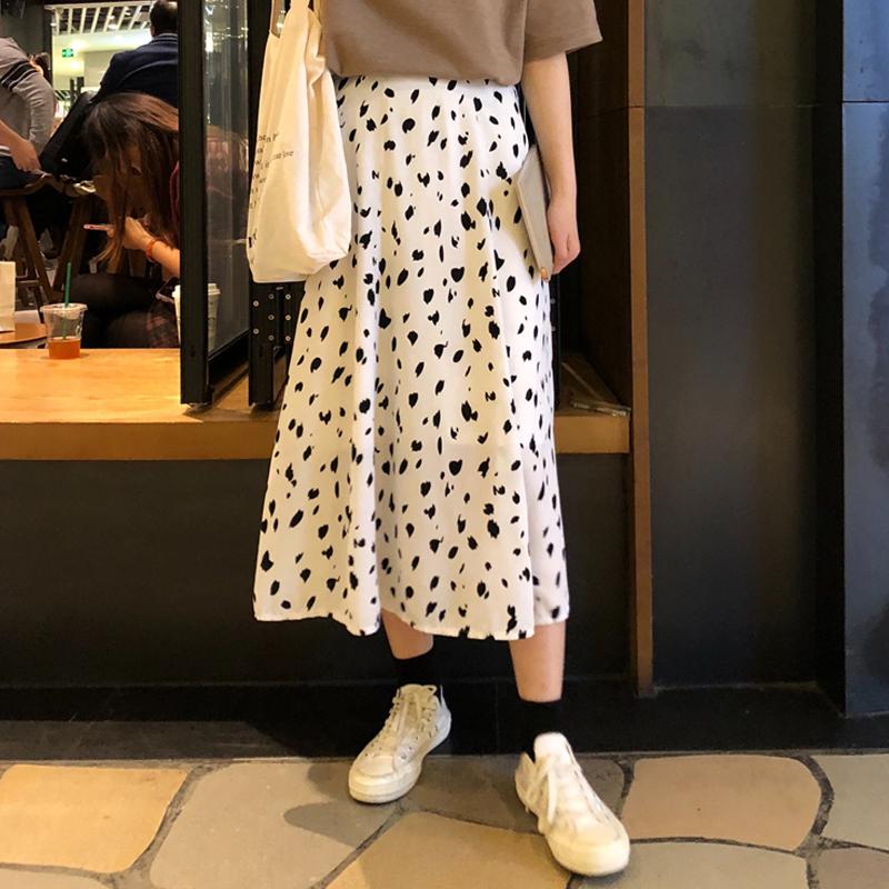【bottoms】カジュアルドット柄ハイウエストスカート21273255