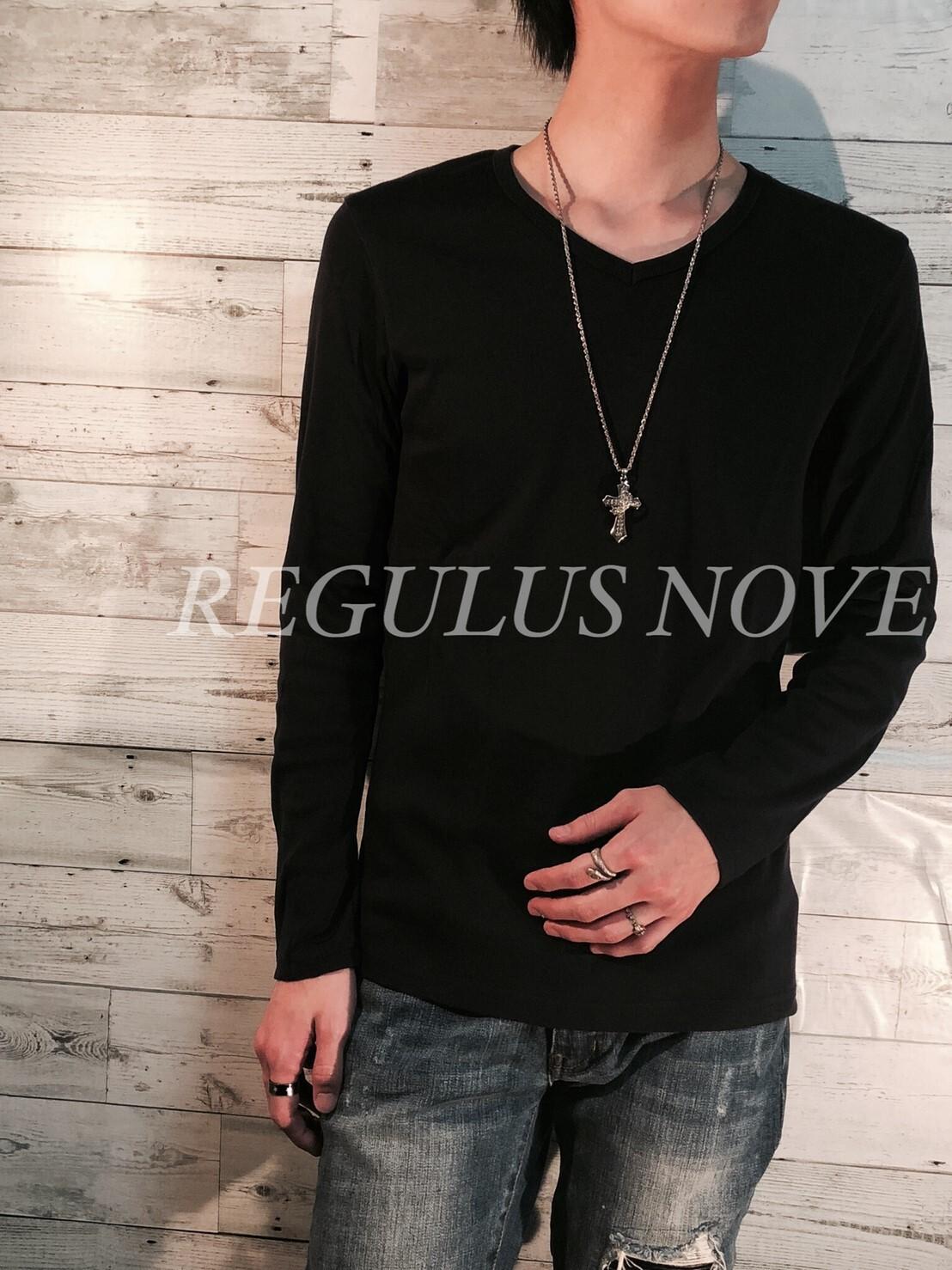 REGULUS NOVE  フライスカットVネックロンT NAVY メンズ 男物 ロンT トップス 紳士服 長袖 シンプル レイヤード 重ね着 カットソー Tシャツ