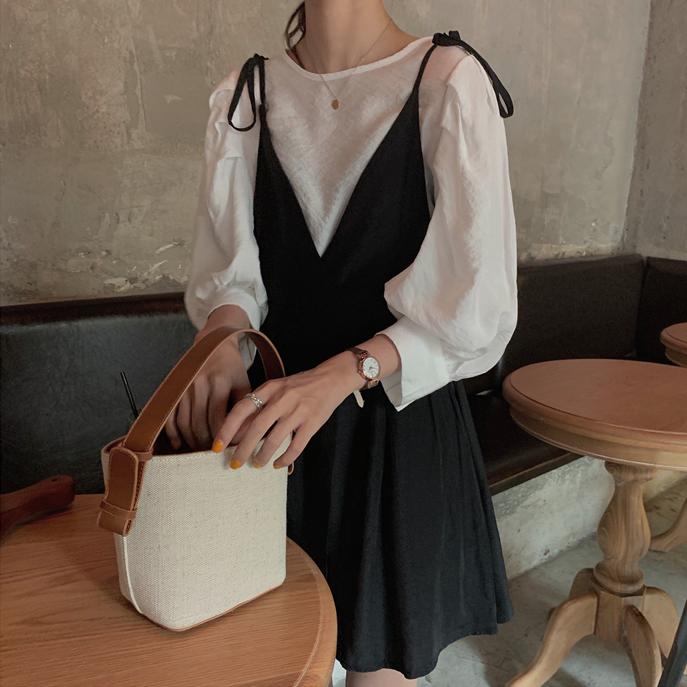 【送料無料】大人可愛いデートコーデ ♡ 2点セット セットアップ ボリューム袖 ブラウス × キャミ ワンピース