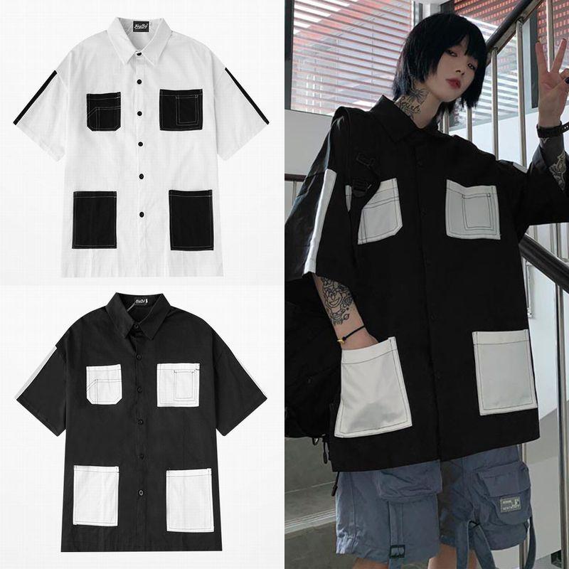 ユニセックス シャツ 半袖 メンズ レディース マルチポケット オーバーサイズ 大きいサイズ ルーズ ストリート