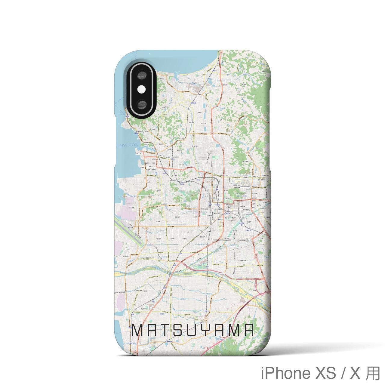【松山】地図柄iPhoneケース(バックカバータイプ・ナチュラル)