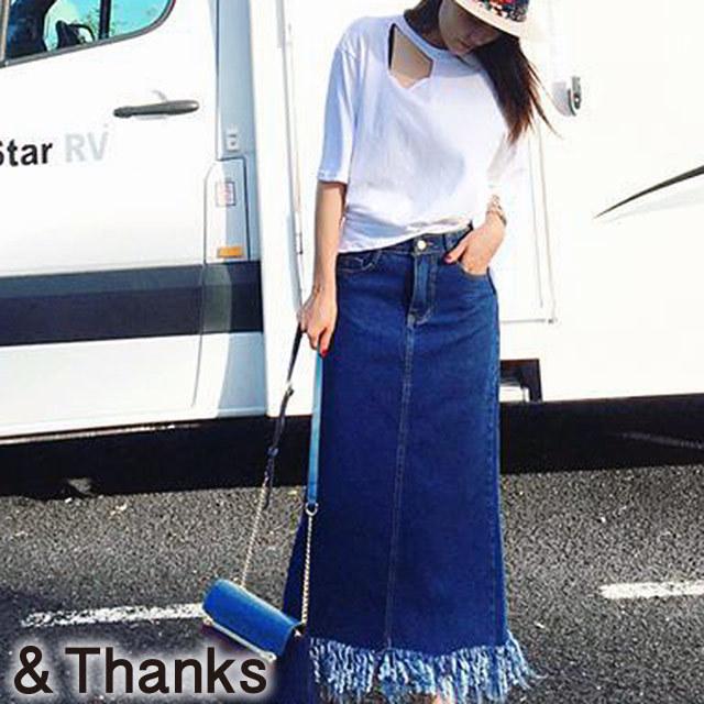 春コーデ カットオフデニムロングスカート 1カラー1サイズ
