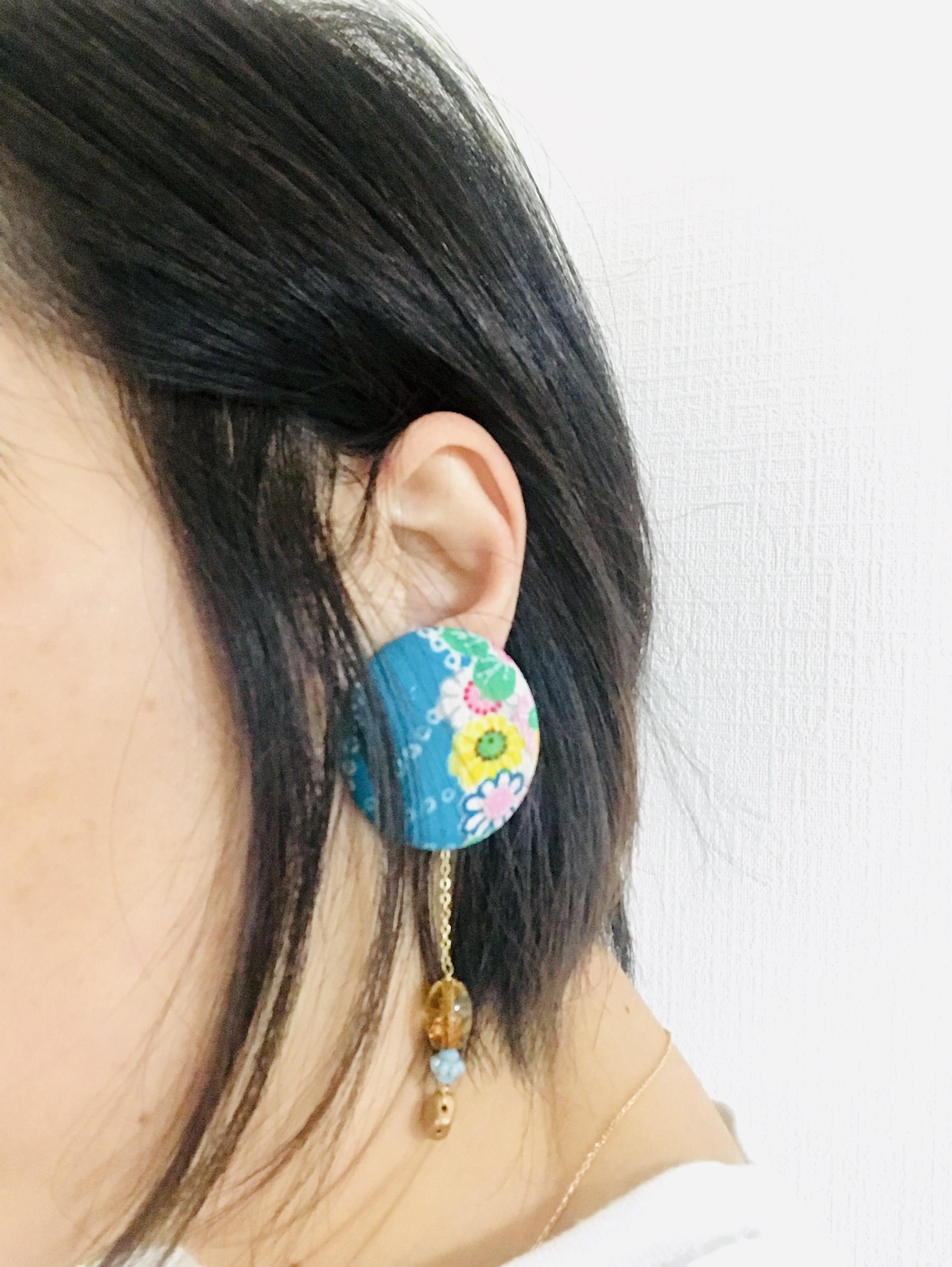 glance + 着物ピアス(アンティーク女児晴着・赤花)-9