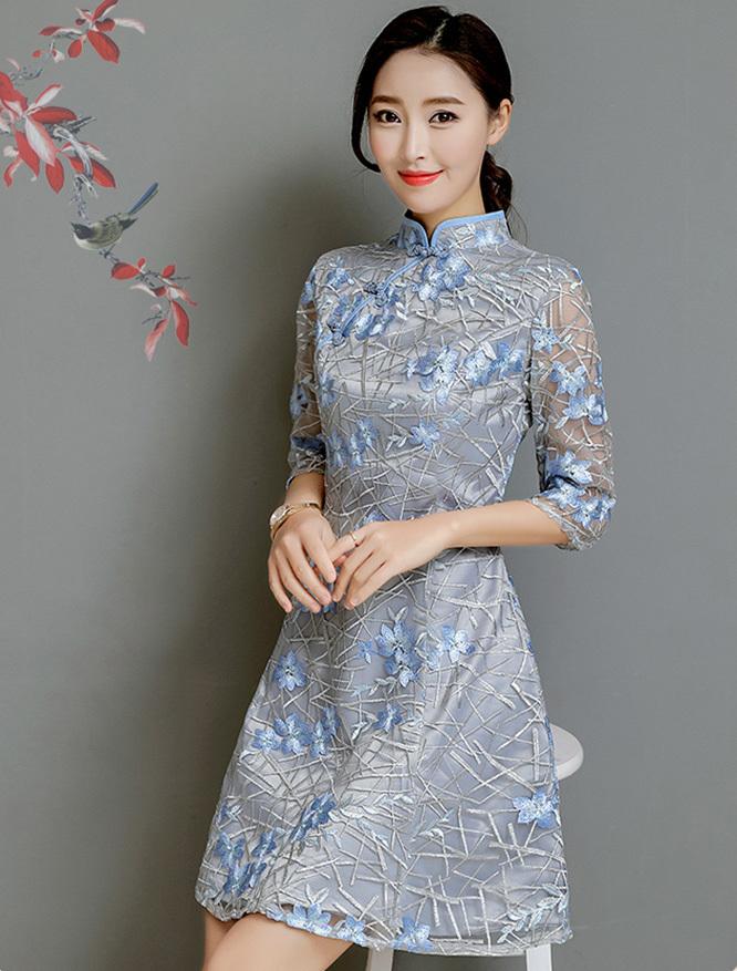 b0ada41214c74 ミニ丈ドレス チャイナ風 モックネック 5分袖 透け感 レース 刺繍 カラードレス