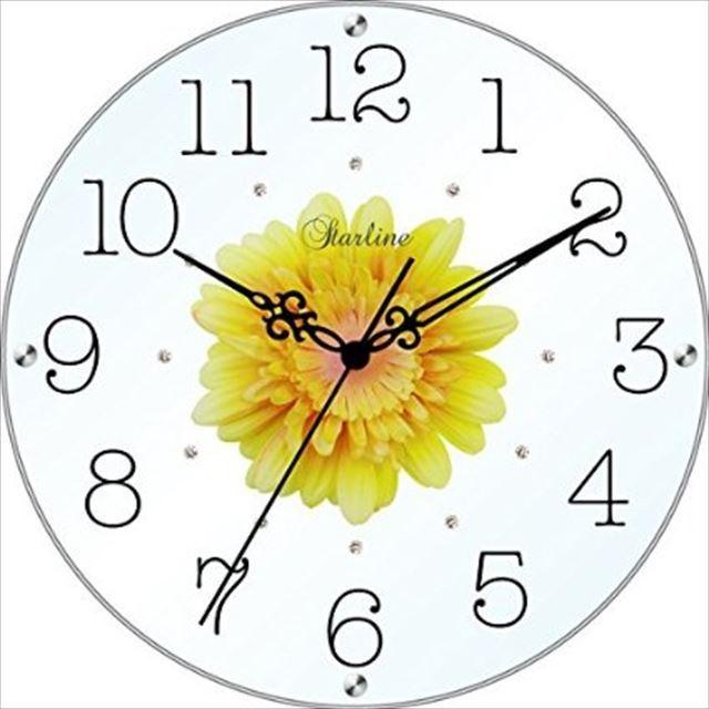掛け時計 造花 アートフラワークロック SW-1186 スターライン - 画像3