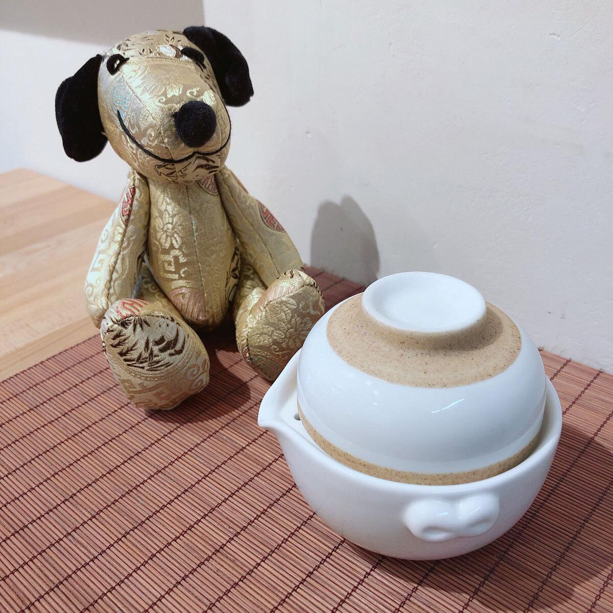 《お試し茶葉付》オールインワン茶器セット【白茶色】