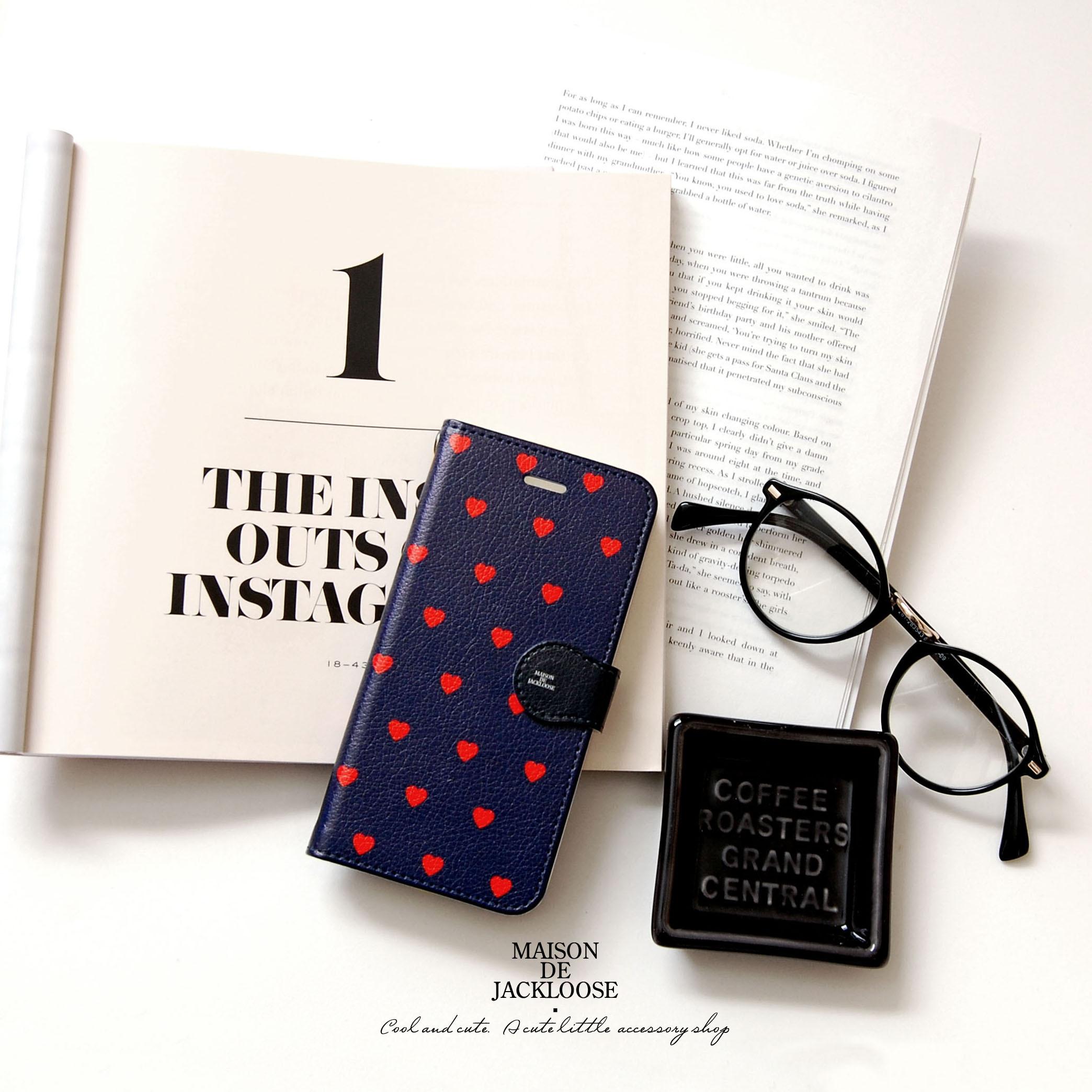 イングランドカラー・ハート柄ステーショナリースマホ手帳ケース(iPhone/android各種)アイフォンX 手帳型ケース iPhone8手帳型 ケース