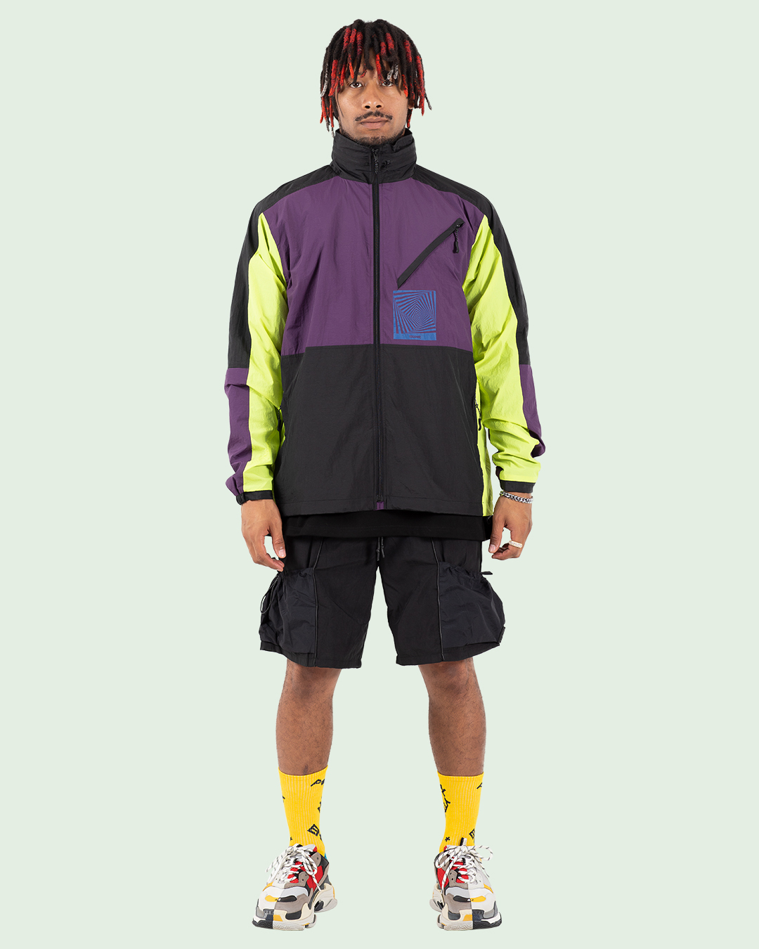 TCR-TEX SHELL JACKET - BLACK/PUPLE/YELLOW