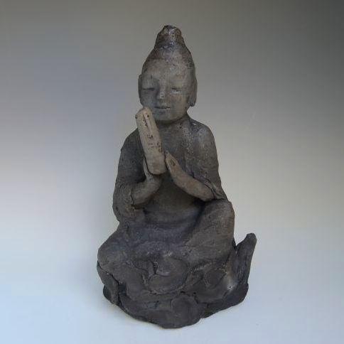 黒陶の仏像 (船越保氏作)F37