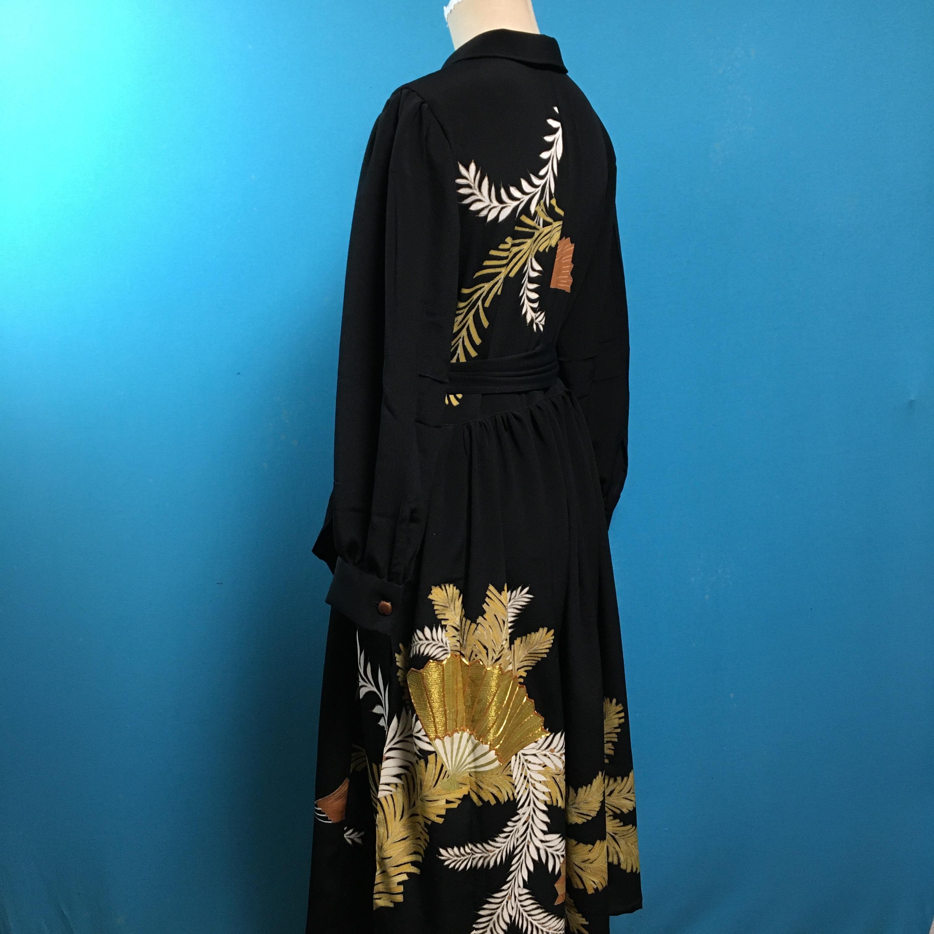 Vintage black 着物、扇