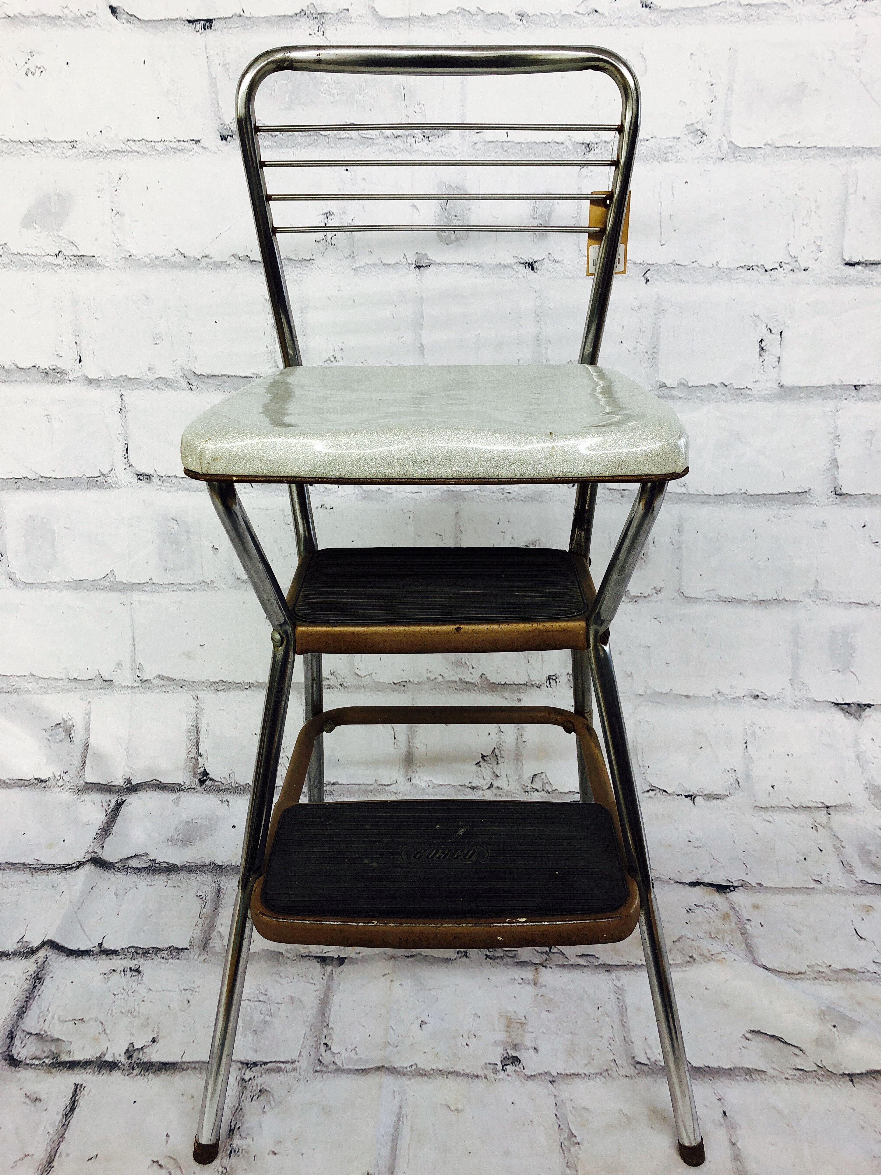 品番1423 ステップチェア インダストリアル COSCO シルバー 椅子 インテリア ディスプレイ アンティーク