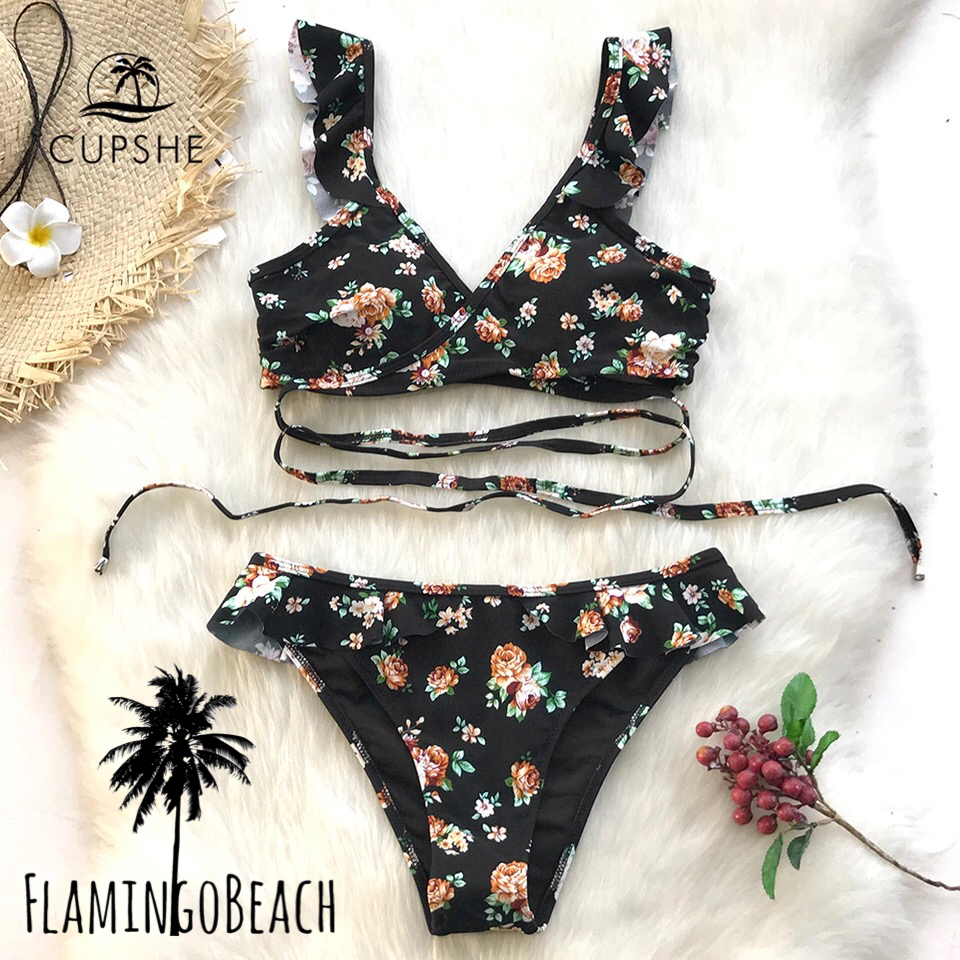 【FlamingoBeach】black flower bikini ビキニ