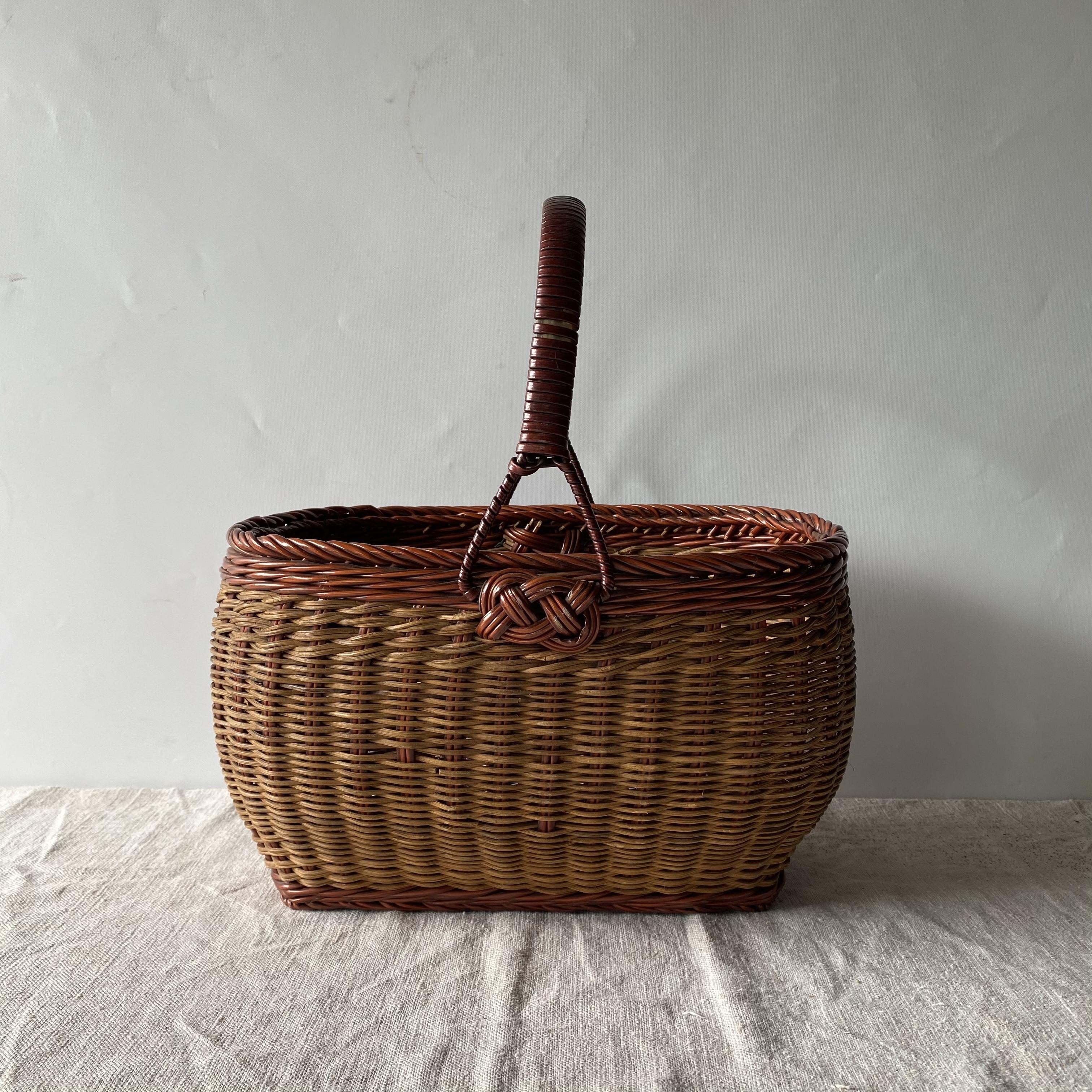 買い物カゴ 籐かご バスケット 天然生活 昭和レトロ