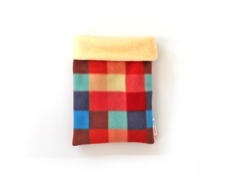 ハリネズミ用寝袋 S(冬用) フリース×フリース カラフルチェックA