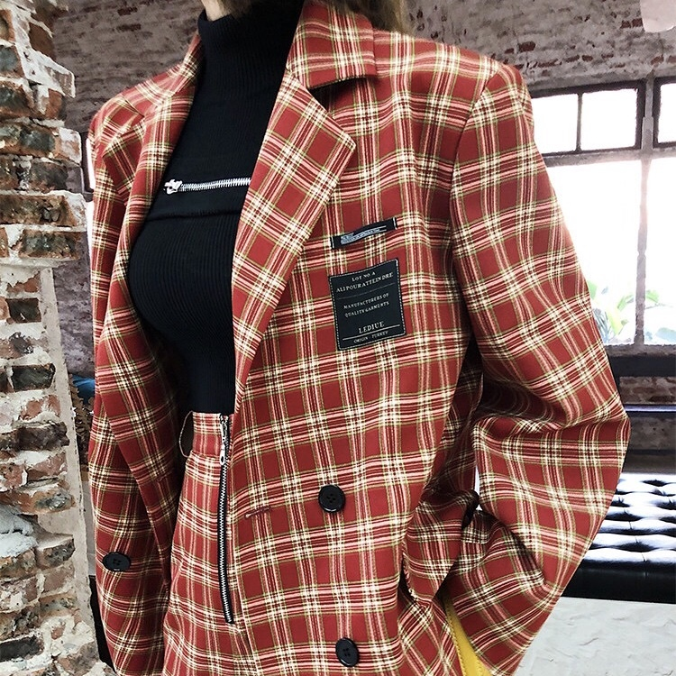stylish check red jacket