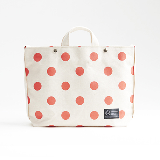 shoulder tote bag/vermilion × polka dot ショルダートート/ 朱 x 水玉