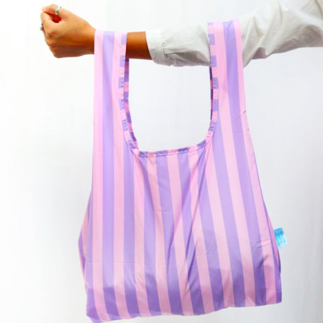 KIND BAG -LONDON- Eco bag Purple stripes エコバッグ M