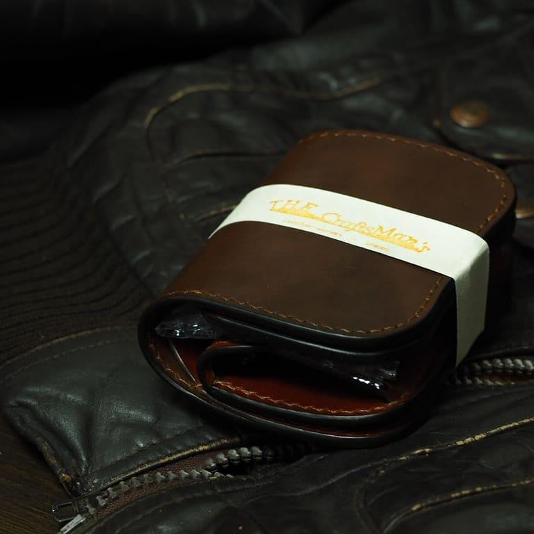 【多脂革サドル】ショートウォレット【crown】 type1 ダークブラウン×バーガンディ― ≪二つ折り財布≫