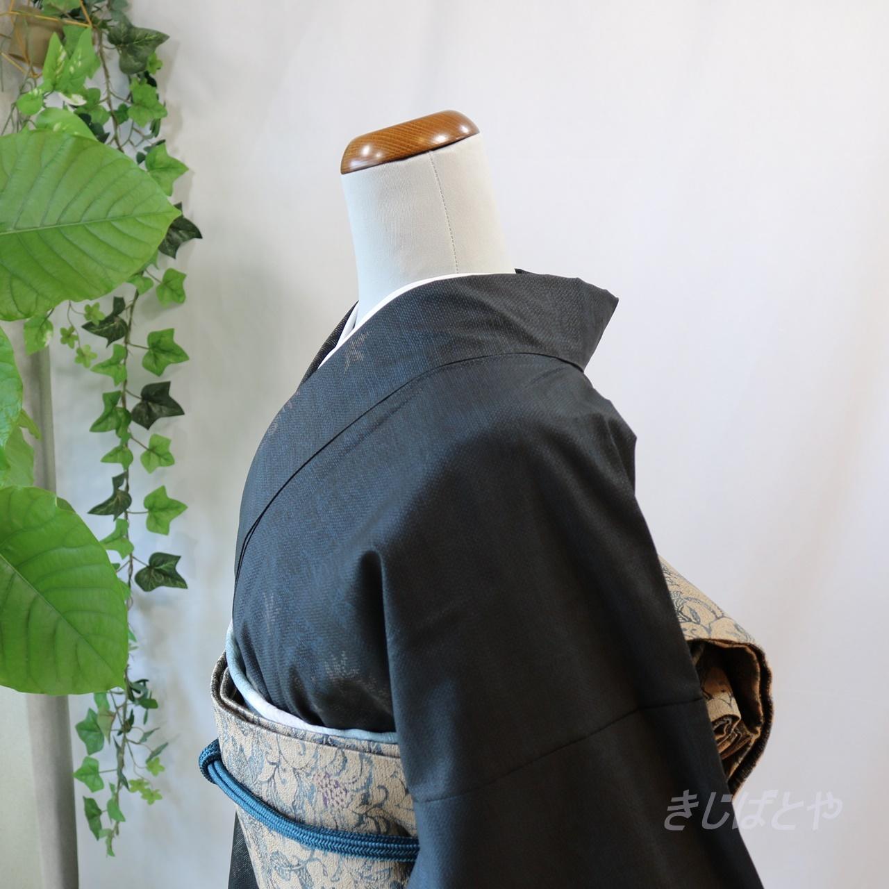 本場大島紬 鉄紺に葉の小紋 袷