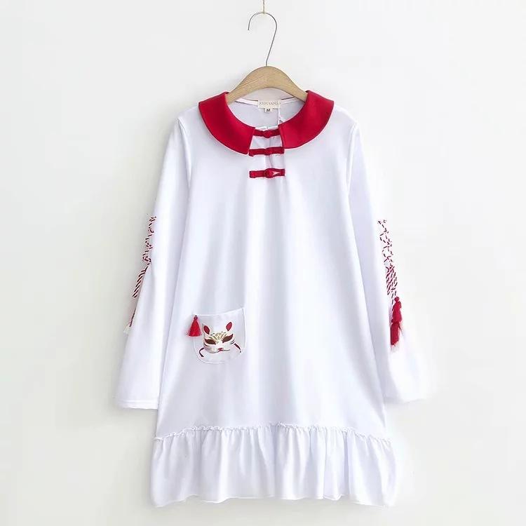 狐面チャイナロングコットンシャツ