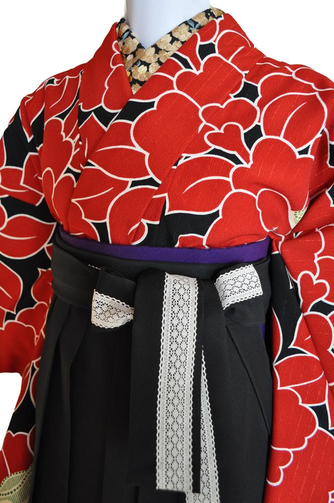 卒業式袴レンタル!黒地レース紐・花やリボン刺繍の袴&『和風館パーティー着物』赤黒大きな花柄ladies'hakama4[往復送料無料] - 画像3