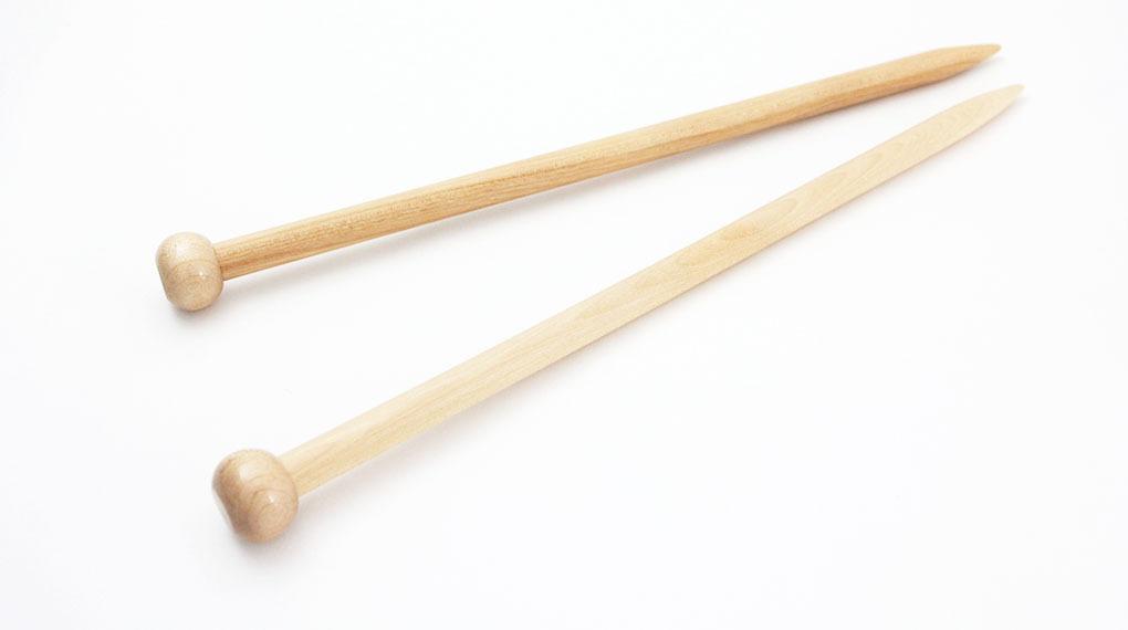 【竹製硬質】玉付極太 2本針 (長さ35cm 太さ8mm)