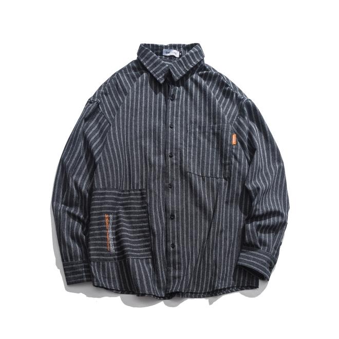 【UNISEX】ストライプ ロングスリーブシャツ【1color】