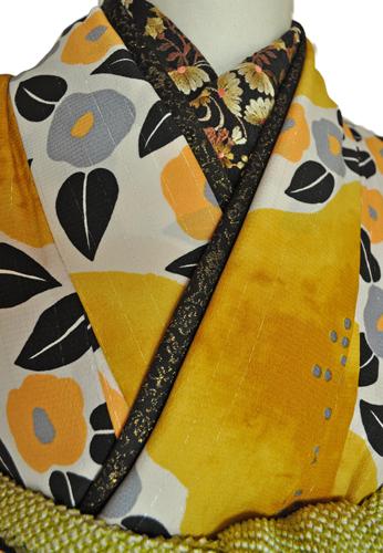 レンタル着物315-1「パーティーきものレンタル」和風館濃い上品な黄色に小さな可愛い椿の柄【往復送料無料】 - 画像4