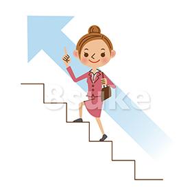 イラスト素材:階段を登るビジネスウーマン(ベクター・JPG)