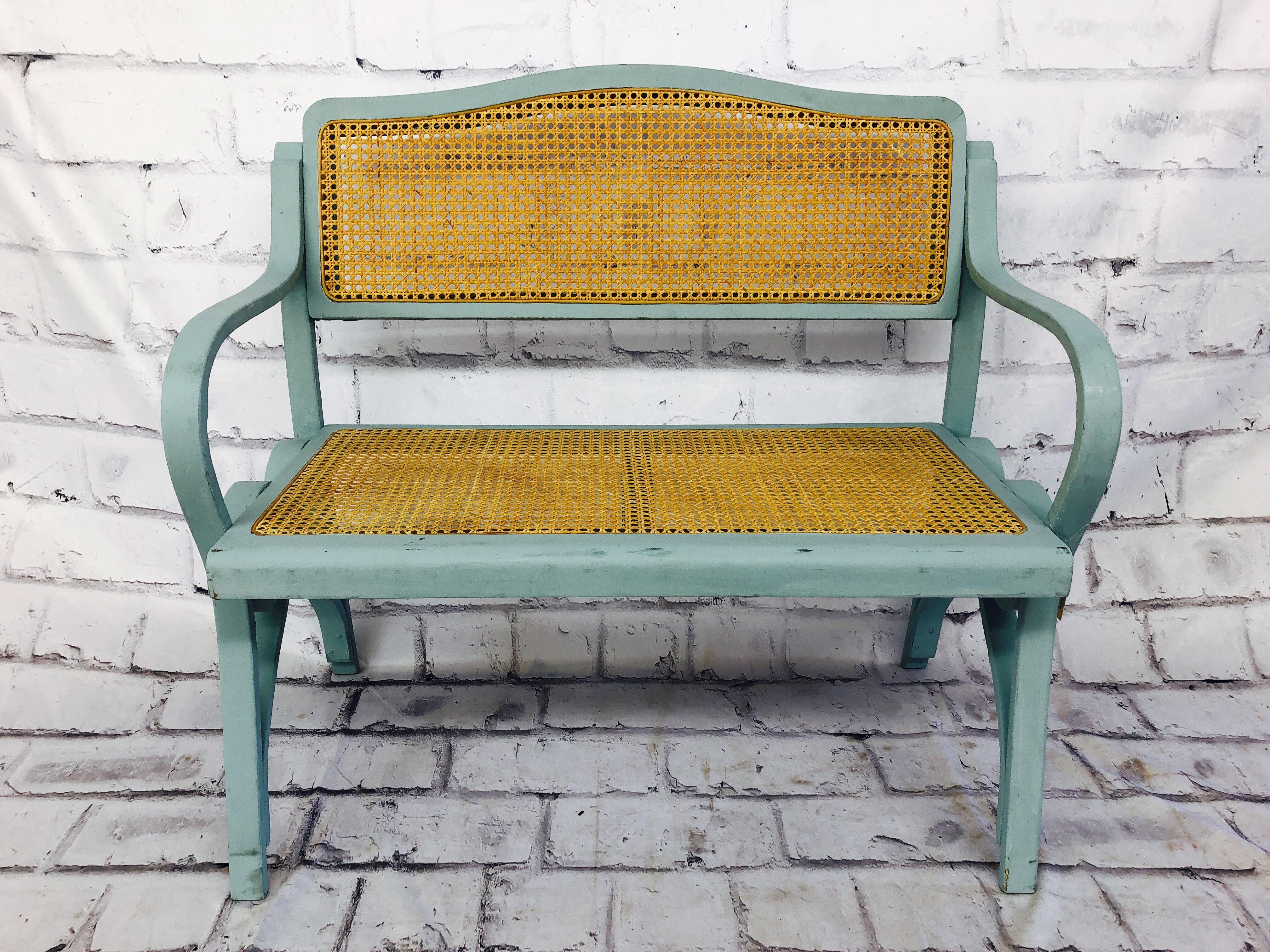 品番4271 ベンチ チェア 2人掛け 椅子 レトロ ブルー 木製 アンティーク
