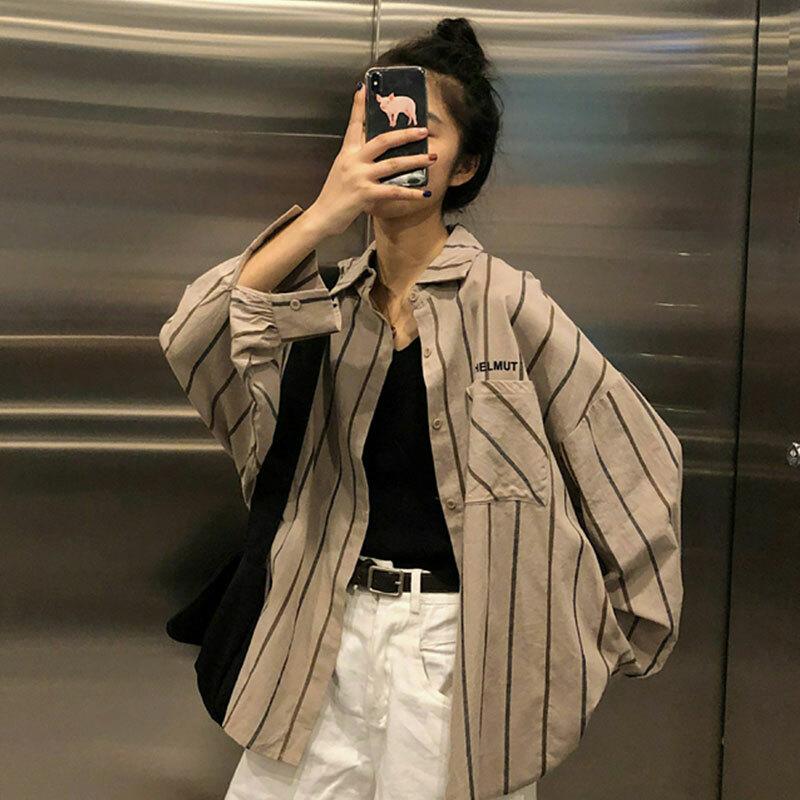 【送料無料】 ストライプがおしゃれ ♡ メンズライク オーバーサイズ  羽織り シャツ