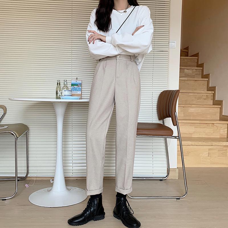 〈カフェシリーズ〉ハイウエストウールパンツ【high waist wool pants】