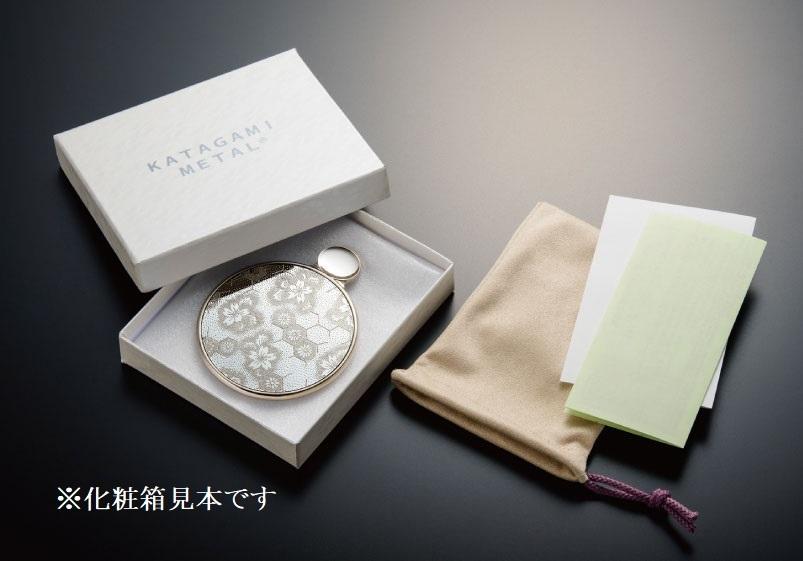 カタガミメタル手鏡S 亀甲に花菱 KA-150/KiHa