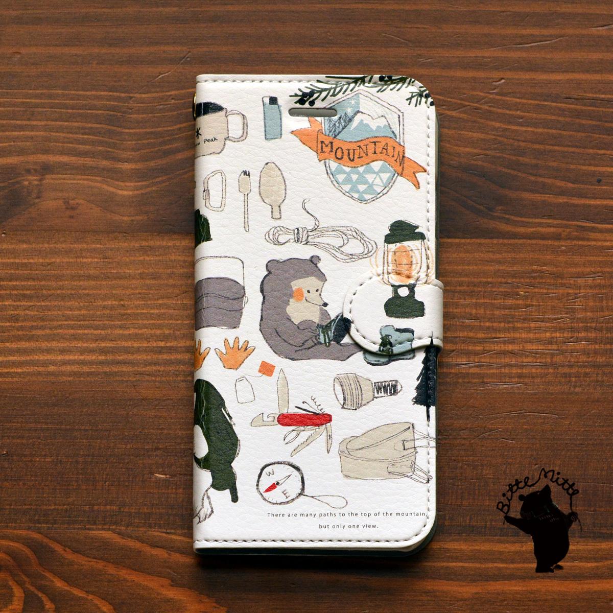 iphone8 スマホケース おしゃれ iphone8 ケース 手帳 大人かわいい iphone x ケース 手帳型 おしゃれ アイフォンテン ケース 手帳型 Galaxy Xperia 父の日 メンズ くま アウトドア ヨルンと山登り/Bitte Mitte!