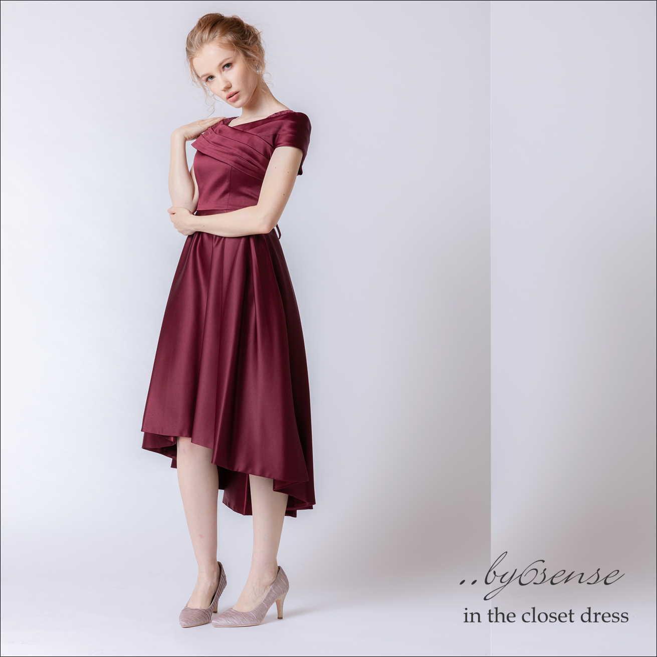 オフショルフィッシュテール・ドレス ワインレッド Dorry Doll(ドリードールドレス)