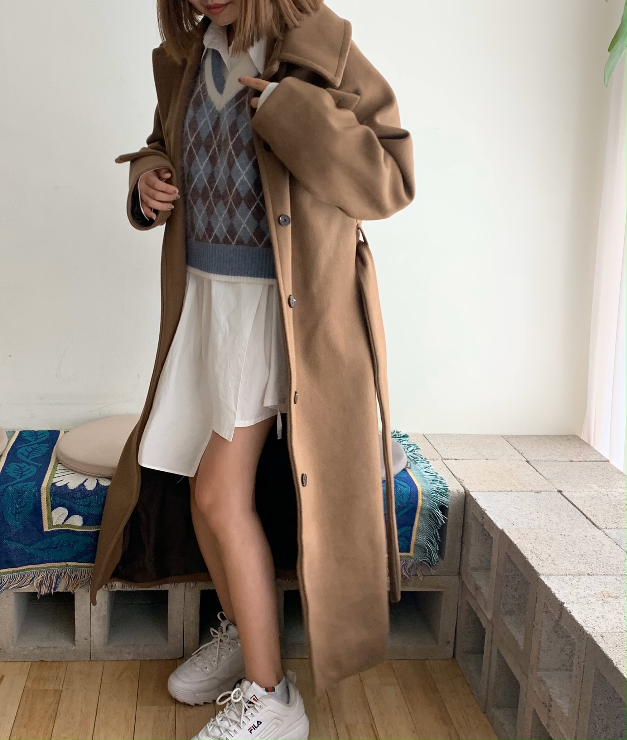 long soutien collar coat