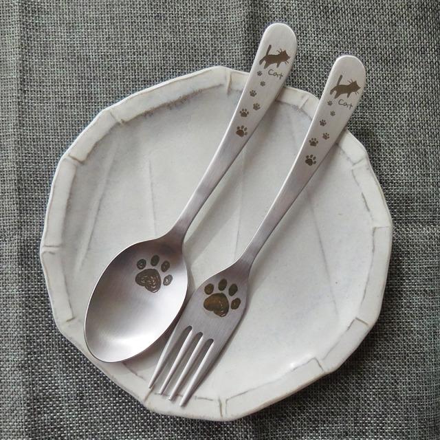 (147) あしあと ねこ ステンレス製 カトラリー 食器