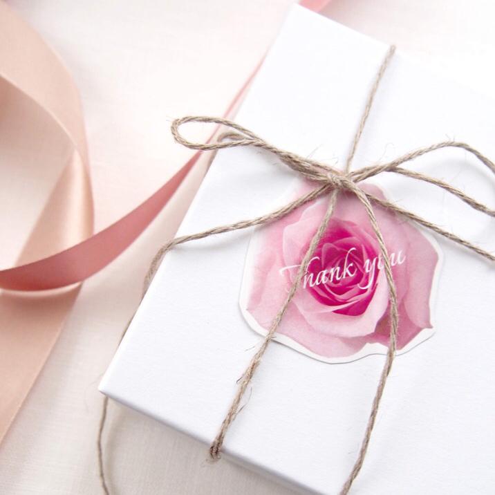 名入/送料無料> 80枚+5枚予備 桜 カラー ローズ サンキュータグ
