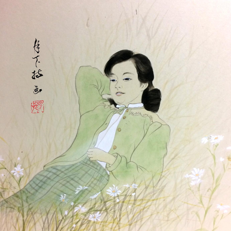 絵画 インテリア アートパネル 雑貨 壁掛け 置物 おしゃれ 和風アート 和 美人画 水彩画 染色画 アクリル画 ロココロ 画家 : 中島月下村 作品 : Doll - sayuri